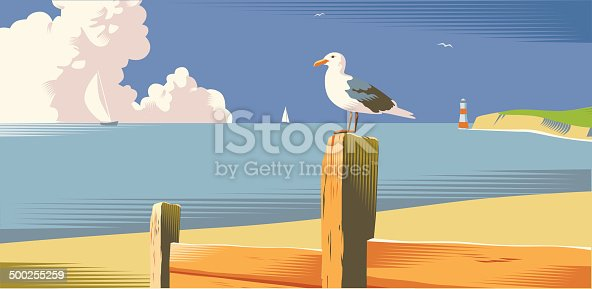 Beach scene with seagull in traditional crosshatch style. EPS 10 file, cs3 and cs5 versions in zip.