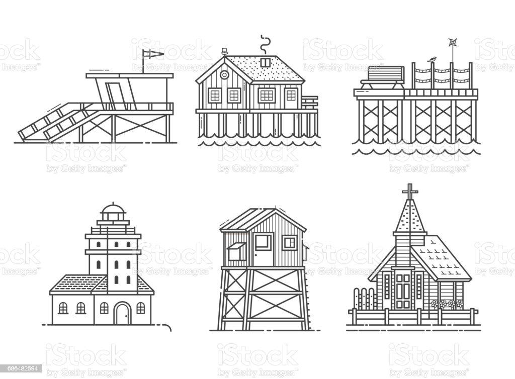 Seaside Buildings Set vector art illustration