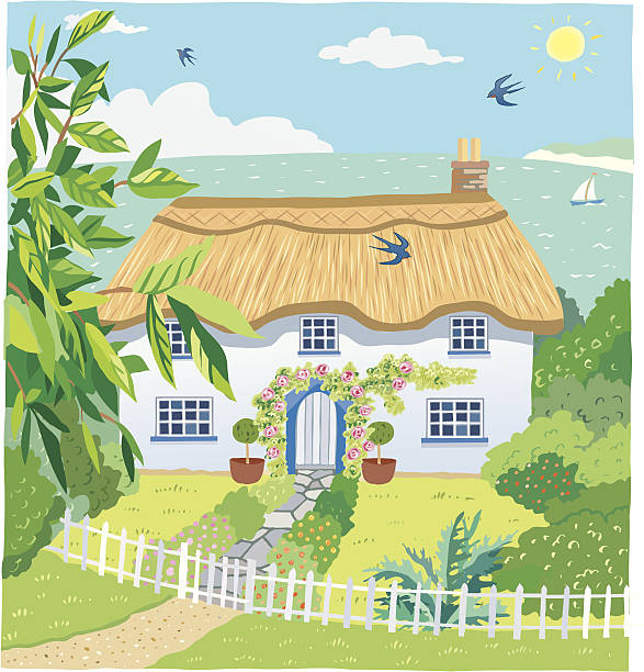 Seaside Cottage Cute country cottage with roses round door in a picket fenced garden. Sea with beach, yacht, hills, sun, birds and clouds in background with foliage to foreground. cottage stock illustrations