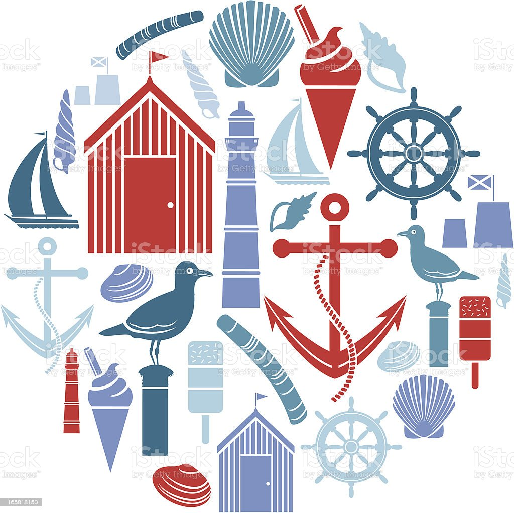 Seaside Icon Montage vector art illustration