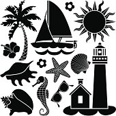 Vector icons with a day at the sea shore theme.