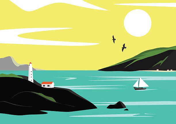 illustrazioni stock, clip art, cartoni animati e icone di tendenza di paesaggio di mare  - fiordi
