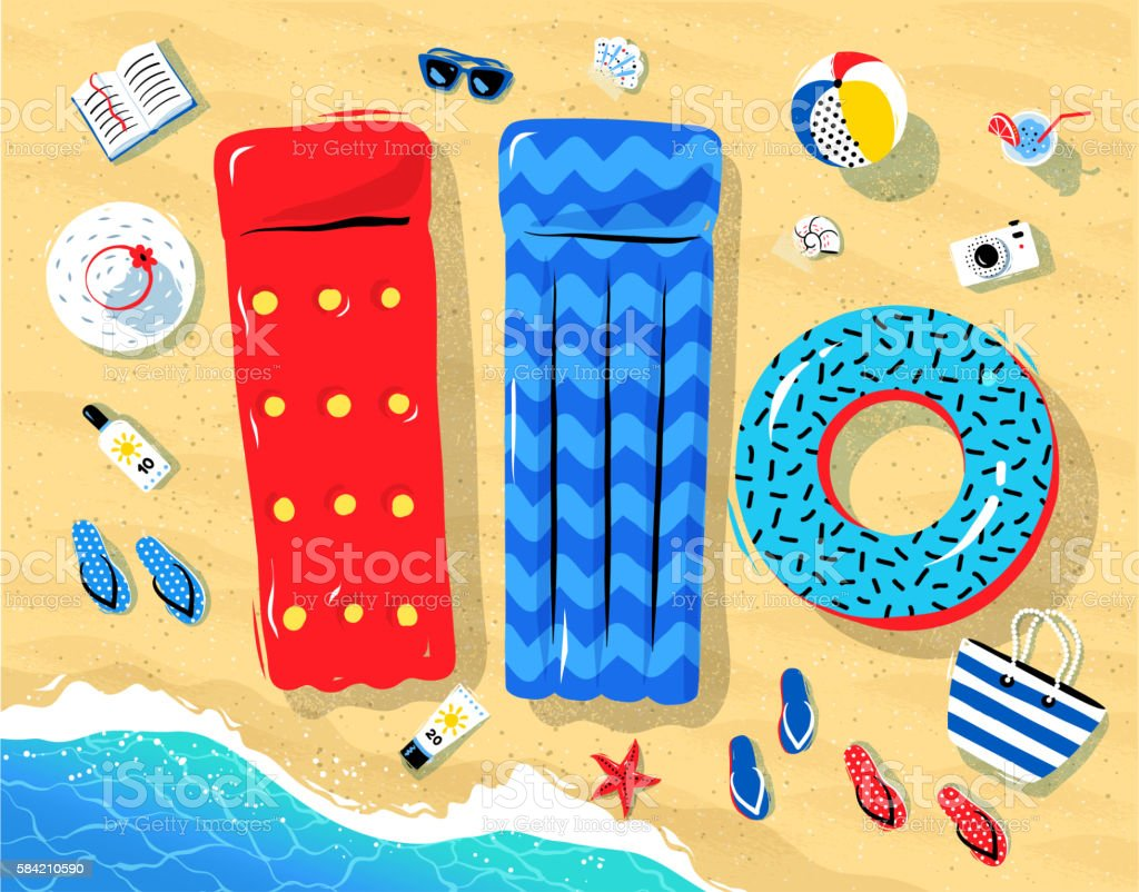 Seaside objects lying on sand vector art illustration