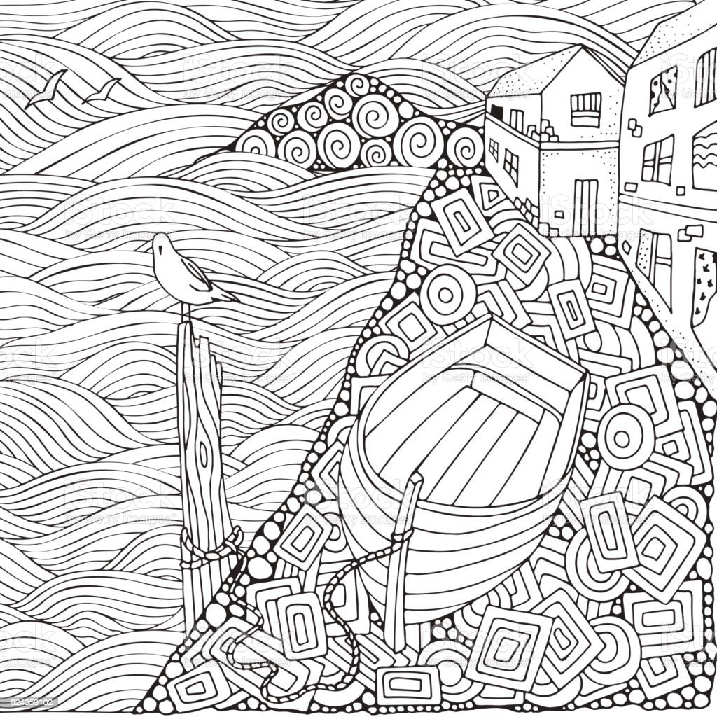 Wooden Boat Lying On The Shore Adult Coloring Book Page Black