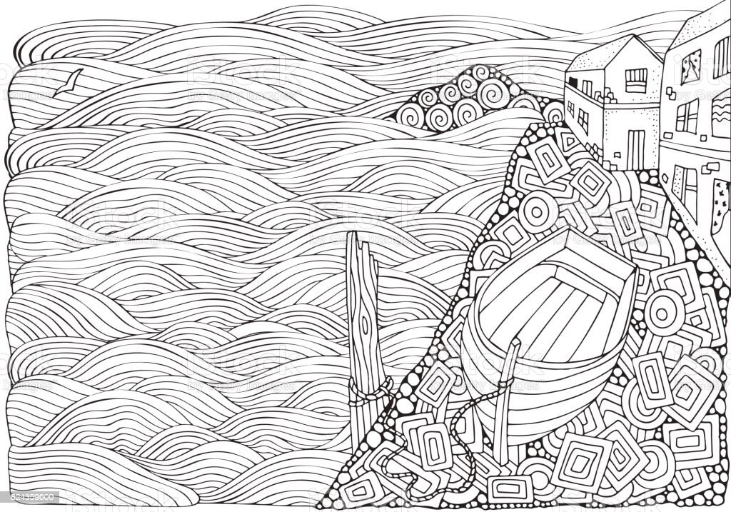Wooden Boat Lying On The Shore Adult Coloring Book Page In Doodle