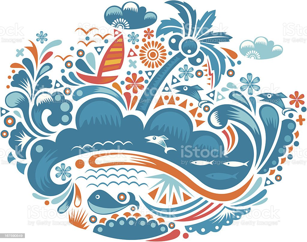 seaside scenery vector art illustration
