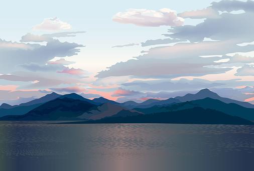 Seaside skyline. Sea sunset. Mountain and hills landscape. Rural skyline. Lake Lagoon resort view background