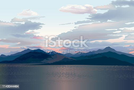 Seaside skyline. Sea sunset. Mountain and hills landscape. Rural skyline. Lake Lagoon resort view background