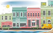 Easy editable seaside town vector illustration. All elements was layered seperately...