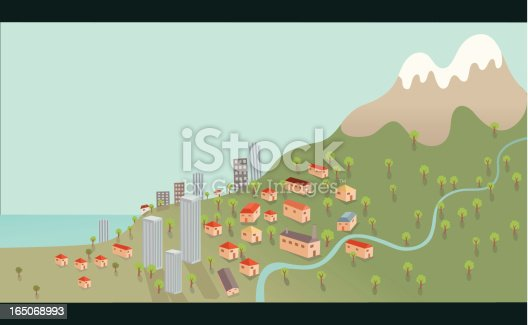 Seaside Town on Mountain Hill with River