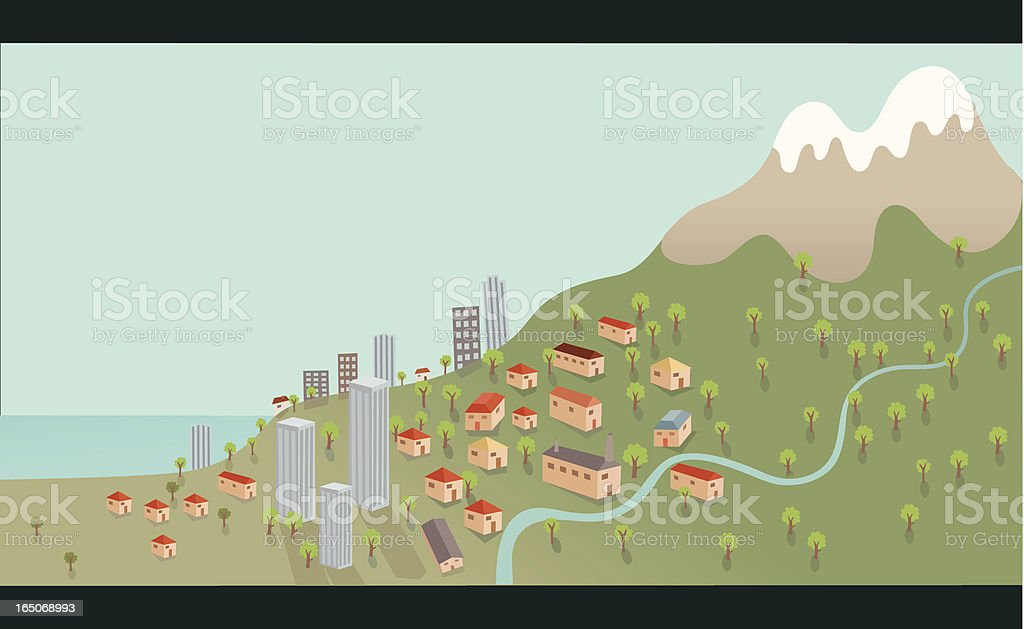 Seaside Town on Mountain Hill with River vector art illustration
