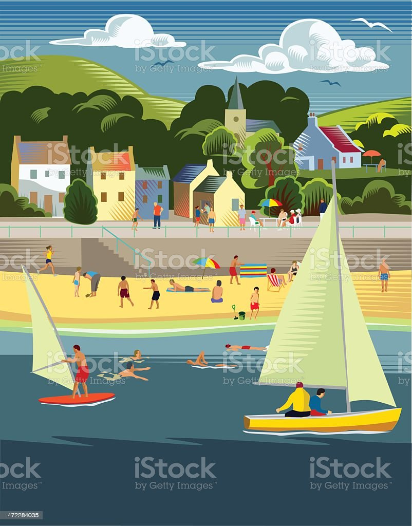 Seaside town with beach vector art illustration