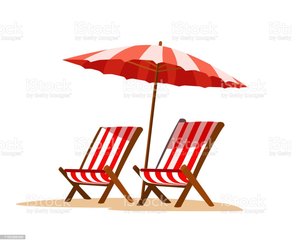 Seaside vacation flat vector illustration Seaside vacation flat vector illustration. Empty sun loungers and umbrella, on hot sand. Traveling in exotic, island, country. Tropical paradise with turquoise ocean waves and palm trees Backgrounds stock vector