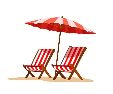 Seaside Vacation Flat Vector Illustration Stock Illustration - Download Image Now