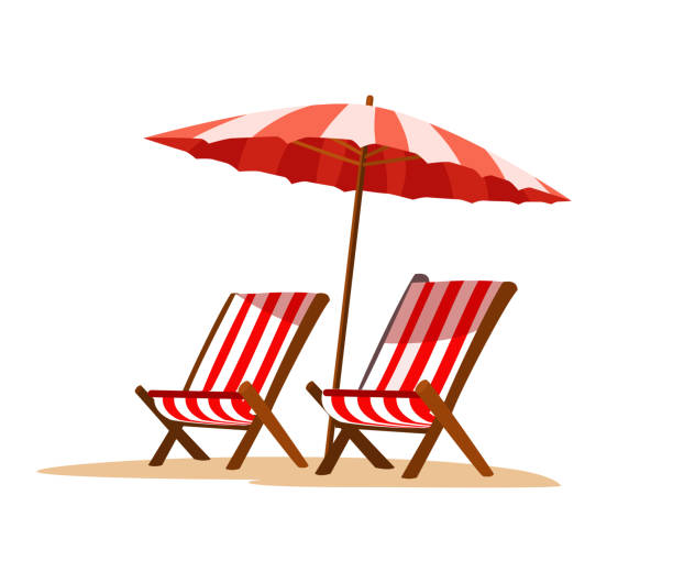 Seaside vacation flat vector illustration Seaside vacation flat vector illustration. Empty sun loungers and umbrella, on hot sand. Traveling in exotic, island, country. Tropical paradise with turquoise ocean waves and palm trees outdoor chair stock illustrations