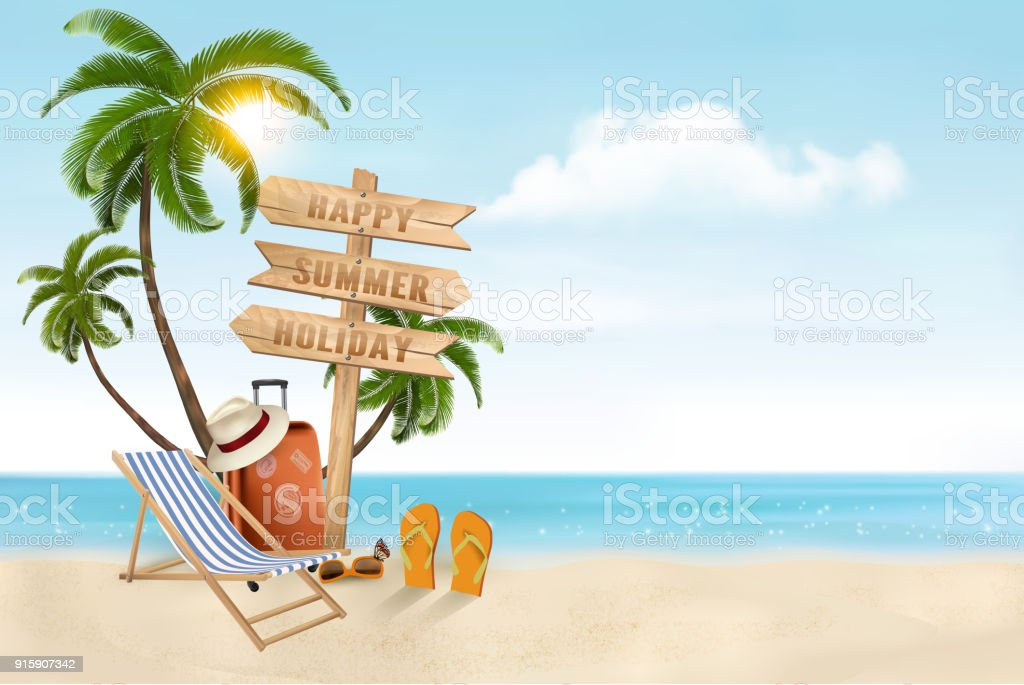 Seaside vacation vector. Travel items on the beach. Seaside vacation vector. Travel items on the beach. Backgrounds stock vector