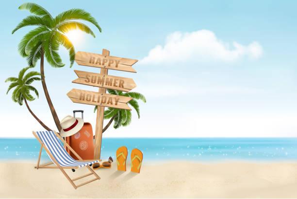 illustrations, cliparts, dessins animés et icônes de vecteur de vacances bord de mer. articles de voyage sur la plage. - transat