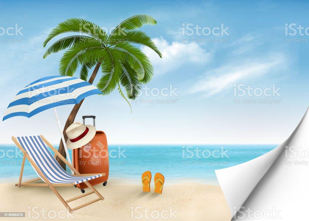Seaside vacation vector. Travel items on the beach. vector art illustration