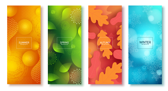 Season abstract vector poster set. Seasonal colorful background like summer, spring, autumn and winter