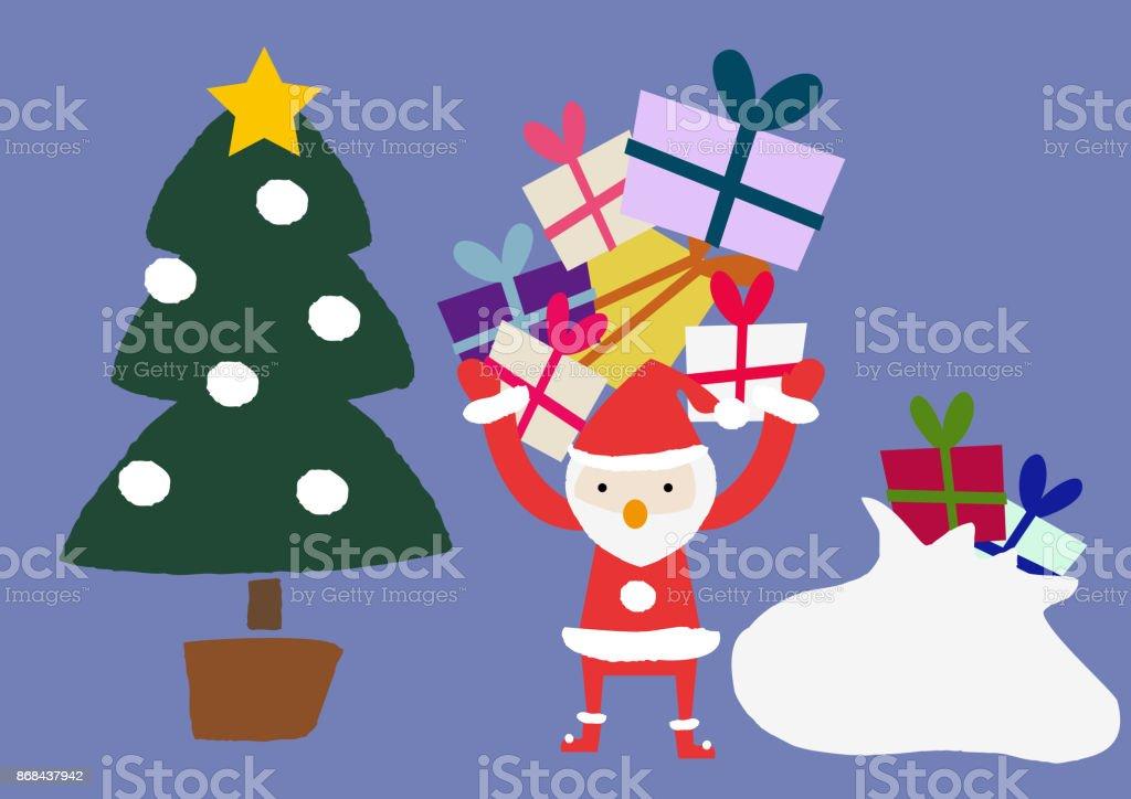 季節のクリップアートサンタ Claushappy の休日カレンダー素材です