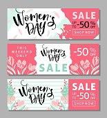 Season discount banner design for International Womens Day.
