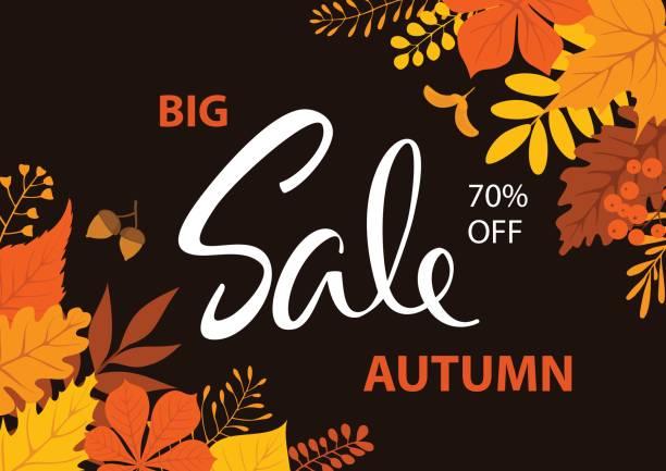 season fall autumn sale background vector art illustration