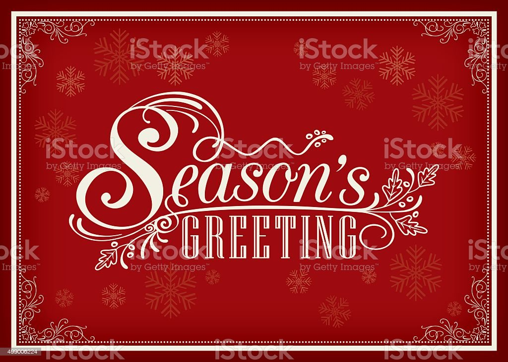 Season greeting word vintage frame design vector art illustration