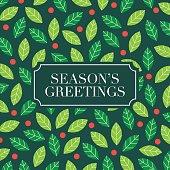 Season Greetings card with mistletoe background.