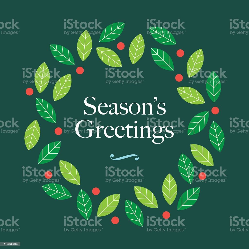Season Greetings Card With Wreath Mistletoe And Logo Stock Vector