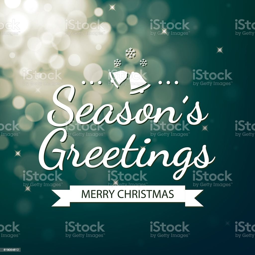 Season Greetings With Green Bokeh Defocused Background Stock Vector
