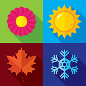 Vector illustration of a set of season icons in flat style.