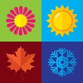 Vector illustration of icons from all four seasons in flat style.