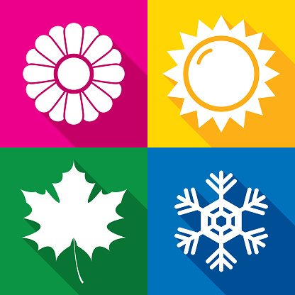 Vector illustration of a set of multi-colored seasonal icons in flat style.