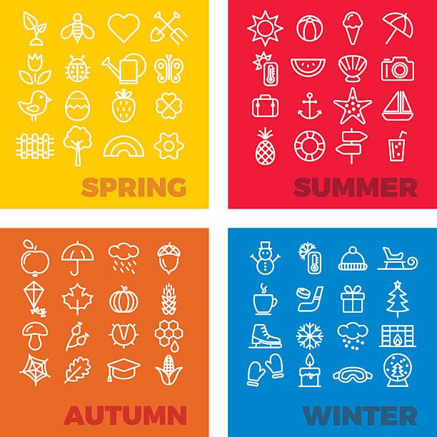 season icons - spring, summer, autumn, winter vector art illustration