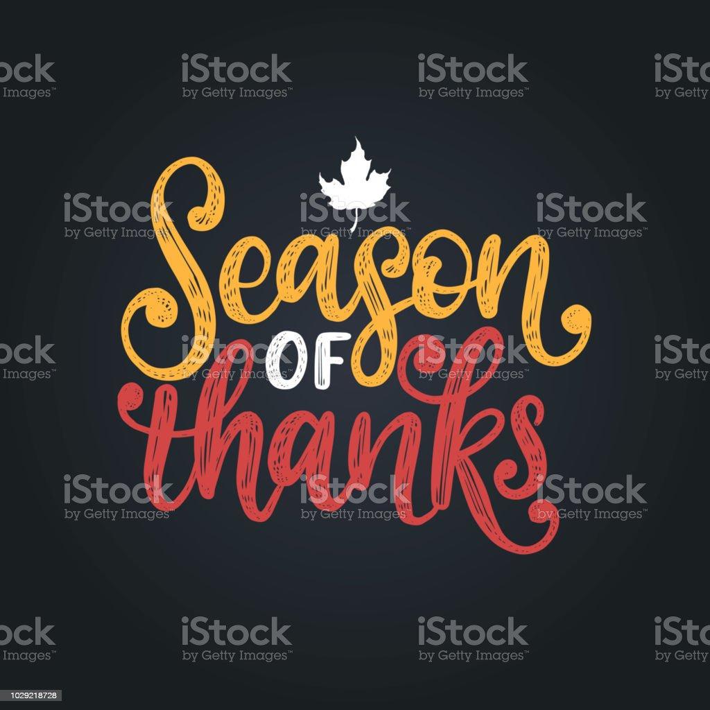Temporada de Graças, mão lettering. Ilustração vetorial com folha de plátano para convite de ação de Graças, modelo de cartão de saudação. - ilustração de arte em vetor