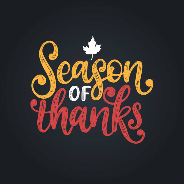 season of thanks,hand lettering. vector illustration with maple leaf for thanksgiving invitation,greeting card template. - thanksgiving stock illustrations