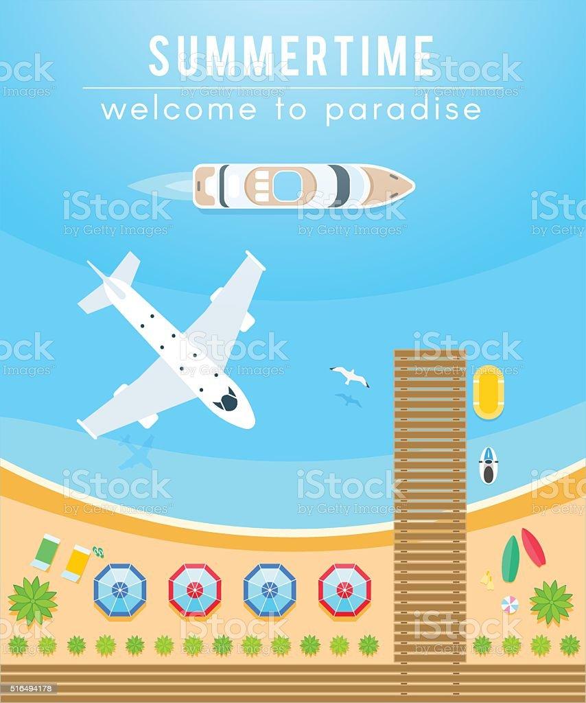 Season of Travel, relax on the beach, air travel vector art illustration