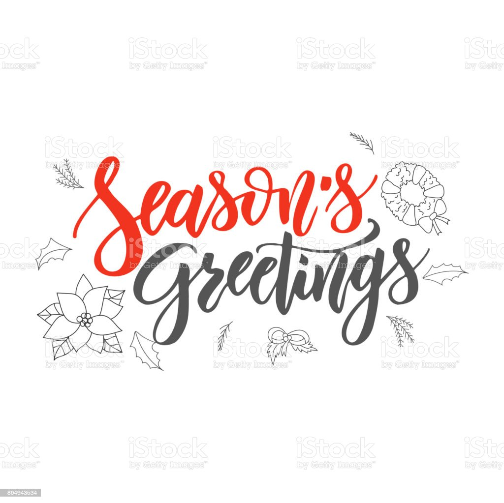 Season S Greetings Handwriting Script Lettering Marry Christmas Greeting Card Modern Brush Lettering Vector Emblem Text Design Stock Illustration Download Image Now Istock