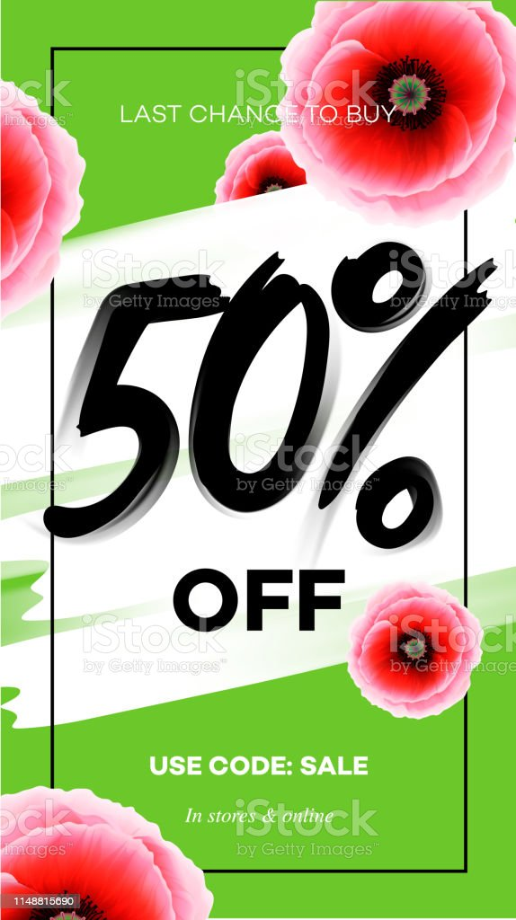 Season sale 50 % off banner template. Vector illustration for website...