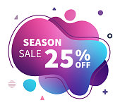 Modern and contemporary web banner design with backgrounds for season sale. Abstract vector illustrations in trendy holographic & ultraviolet colors.