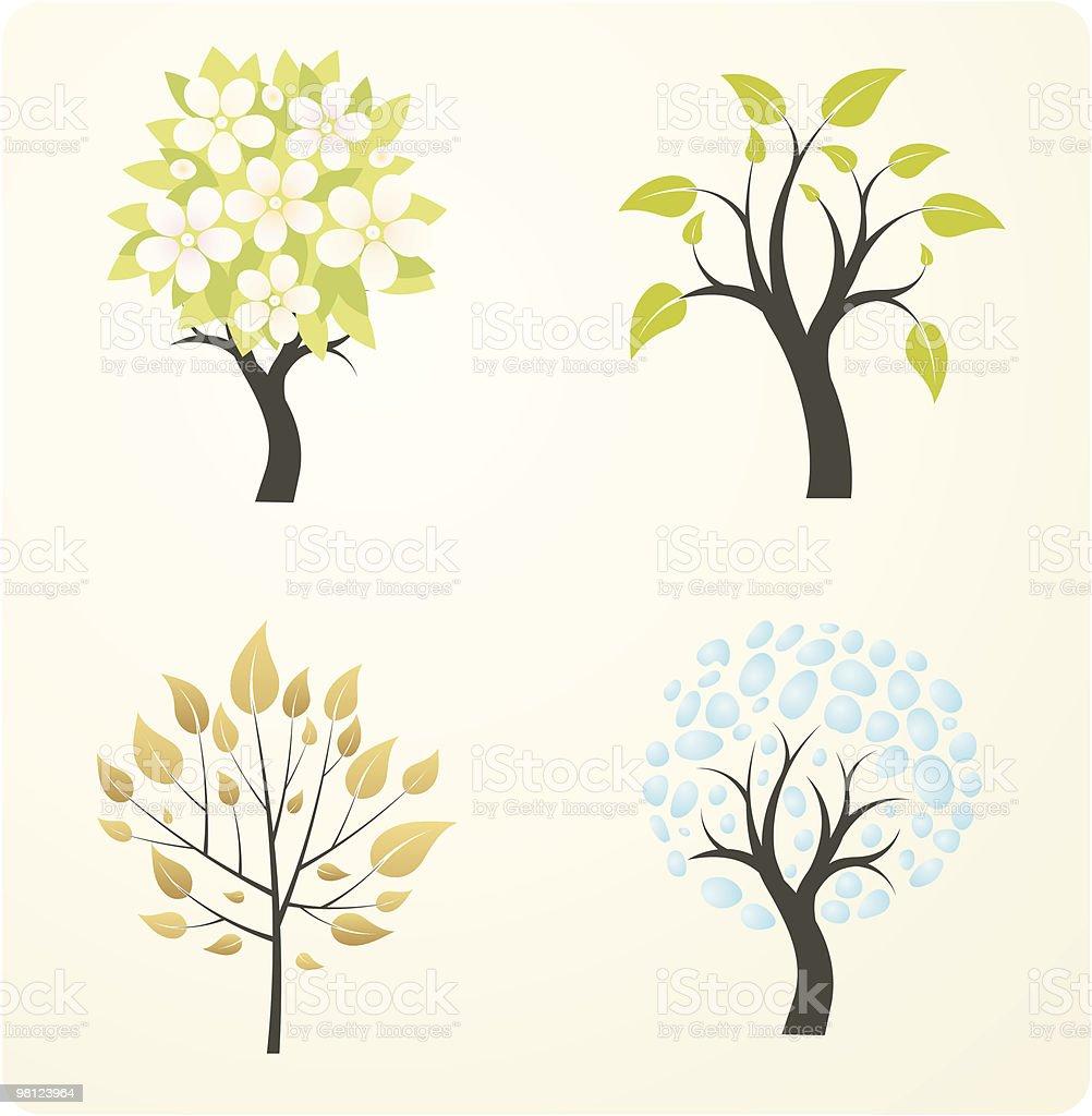 Albero di stagione albero di stagione - immagini vettoriali stock e altre immagini di albero royalty-free