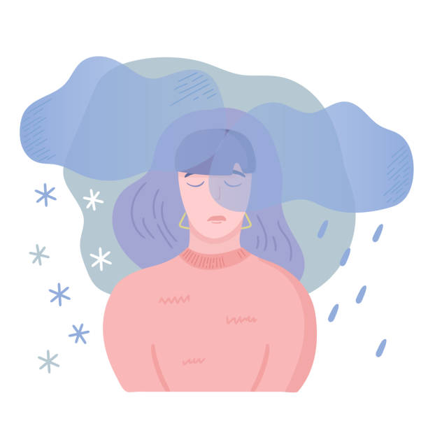 seasonal affected disorder ill Mental disease illustration. Girl with seasonal affected disorder, feeling bad at the same time each year with depressive symptoms and little energy. Vector illustration, cartoon flat style. grief stock illustrations