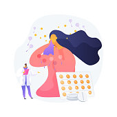 Seasonal allergy abstract concept vector illustration. Pollen allergy immunotherapy, allergic disease diagnostics, seasonal allergy test, nasal congestion, specialist counseling abstract metaphor.