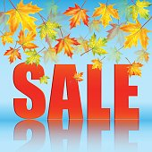 Announcement of sale of the autumn on a background of yellow maple leaves.seasonal autumn sale.vector