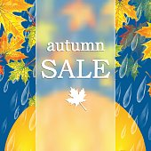 Autumn banner with raindrops and  umbrella and leaves of maple .Autumn sale