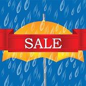 Autumn banner with raindrops and umbrella.Autumn sale