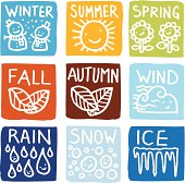A set of seasonal block icons. Hand drawn with text.