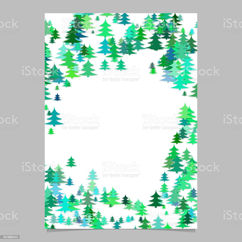 Seasonal Christmas design page template - blank winter holiday vector brochure graphic from stylized pine trees vector art illustration