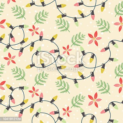 Seamless pattern of Hand Drawn Seasonal Christmas Elements with Holly and evergreens.