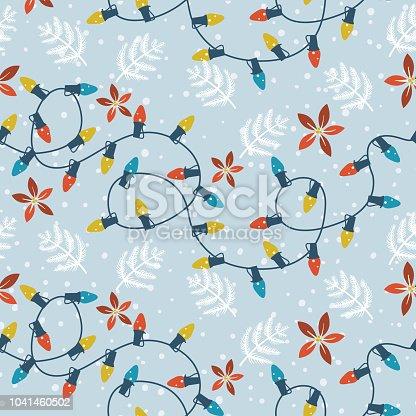 istock Seasonal Christmas Lights Seamless Pattern 1041460502